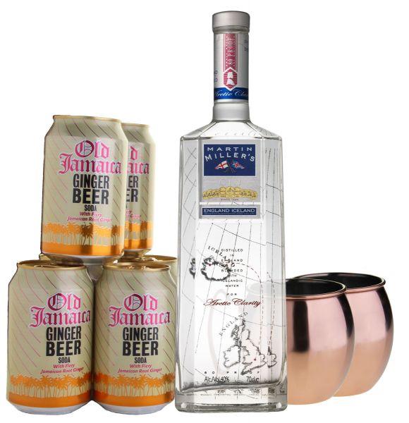 Martin Miller's Gin Gin Mule Set + 2 Kupferbecher hell und glatt