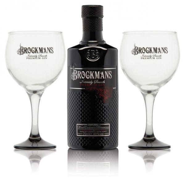 Brockmans Gin mit 2 Ballongläsern