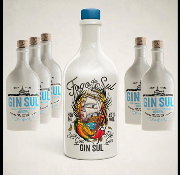 Sonderedition FOGO DO SUL Spicy Goa Dry Gin mit 5 Flaschen GIN SUL